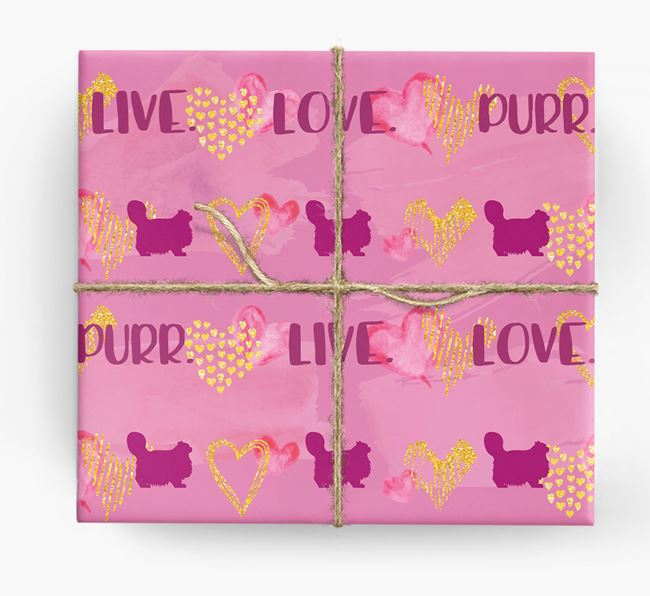 'Live. Love. Purr' Wrapping Paper with Cat Silhouettes
