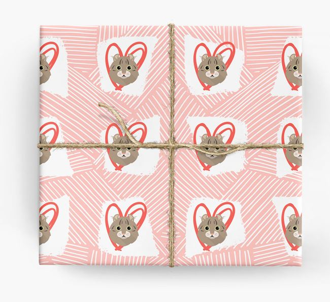 'Lines & Hearts' - Personalised Cat Wrapping Paper