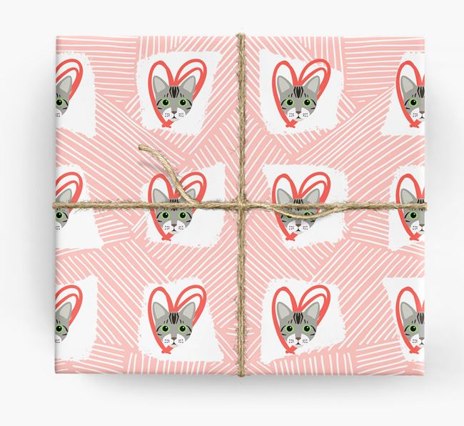 'Lines & Hearts' - Personalized Bengal Wrapping Paper