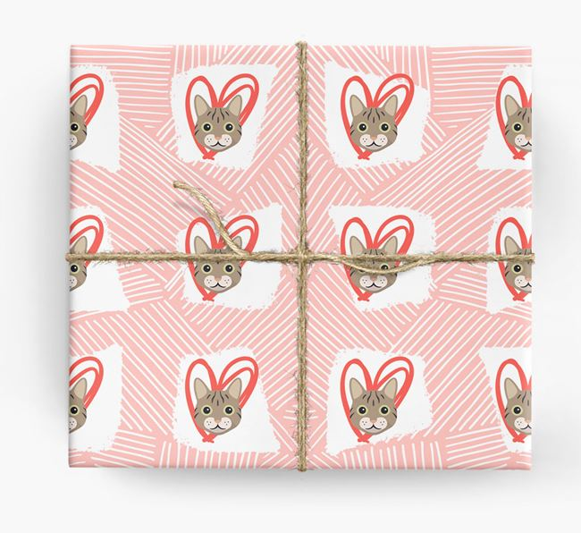 'Lines & Hearts' - Personalized Cat Wrapping Paper