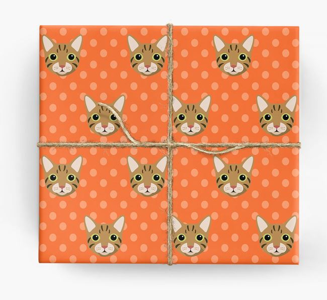 'Cat Icons & Spots' - Personalised Wrapping Paper