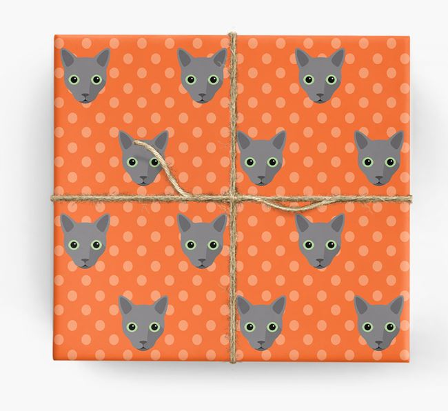 'Cat Icons & Spots' - Personalized Wrapping Paper