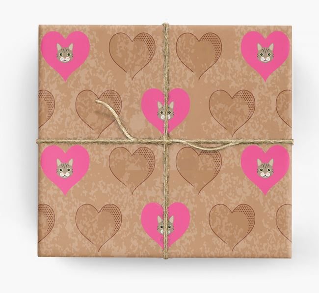 Wrapping Paper with Hearts and Cat Icons