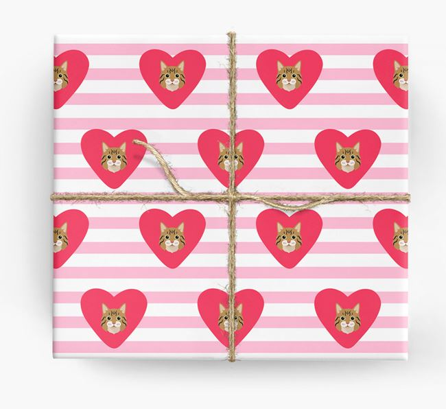 'Stripes and Hearts' - Personalised Cat Wrapping Paper