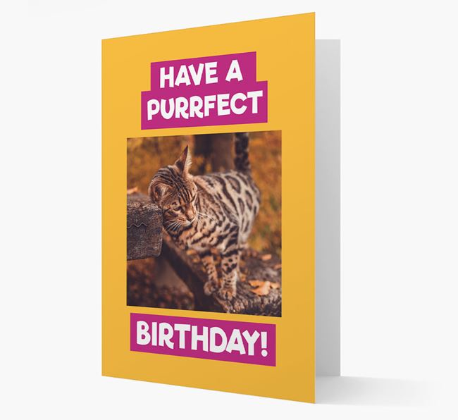 'Have a Purrfect Birthday' - Bengal Photo Upload Card