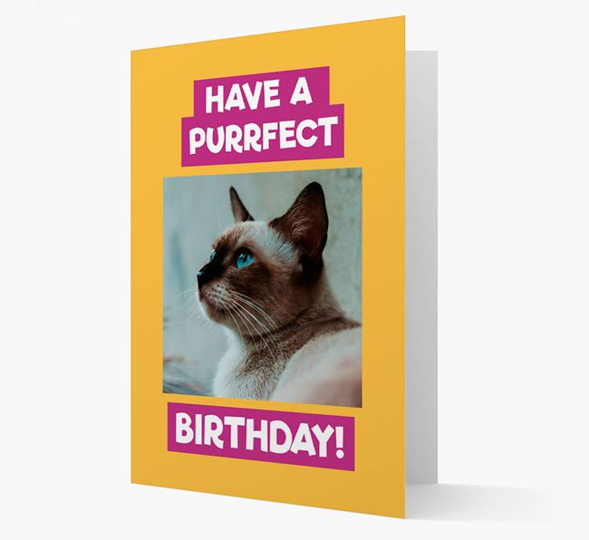 'Have a Purrfect Birthday' - Siamese Photo Upload Card