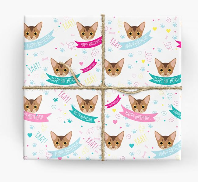 'Happy Birthday - Ribbons' - Personalised Cat Wrapping Paper