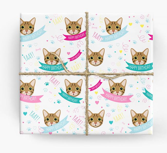 'Happy Birthday (Ribbons)' - Personalized Cat Wrapping Paper
