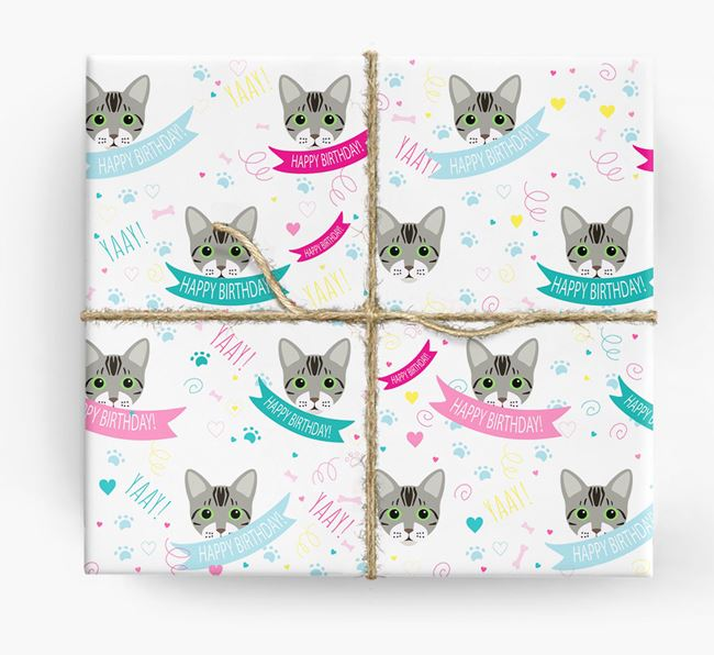 'Happy Birthday (Ribbons)' - Personalized Bengal Wrapping Paper