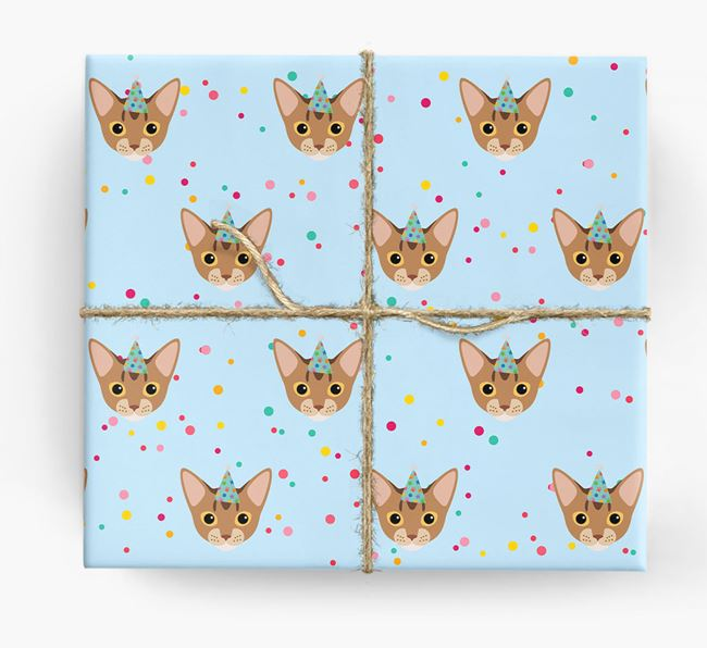 'Birthday Confetti' - Personalized Cat Wrapping Paper