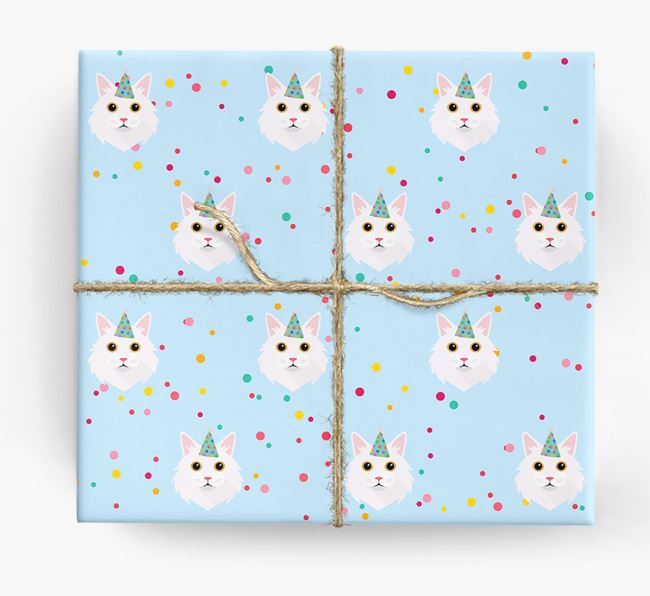 'Birthday Confetti' - Personalised Cat Wrapping Paper