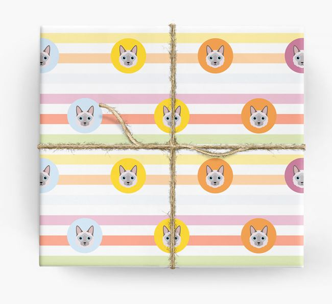 'Colorful Stripes & Circles' - Personalized Balinese Wrapping Paper