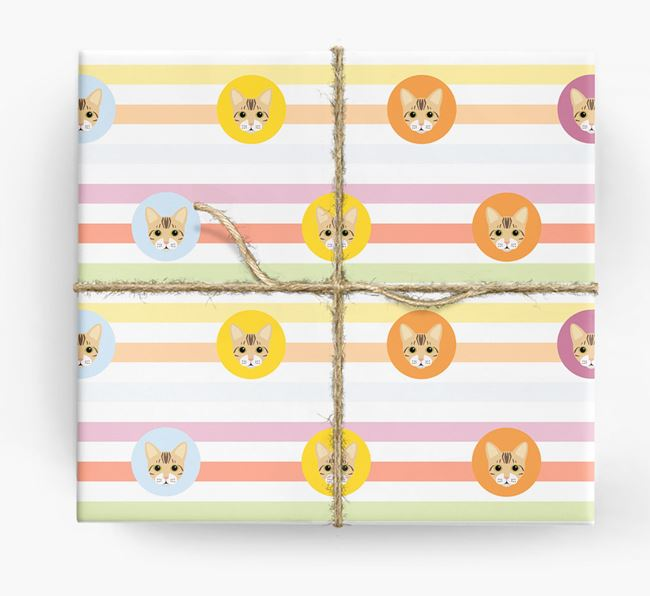 'Colorful Stripes & Circles' - Personalized Bengal Wrapping Paper