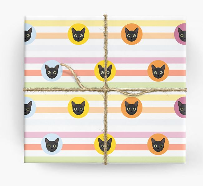 'Colourful Stripes & Circles' - Personalised Cat Wrapping Paper