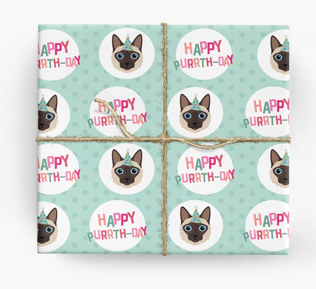 'Happy Purrth-Day' - Personalized Balinese Wrapping Paper