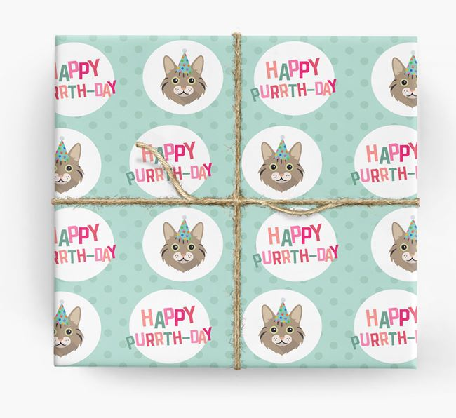 'Happy Purrth-Day' - Personalized Cat Wrapping Paper