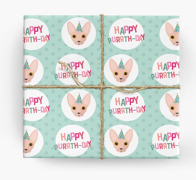 'Happy Purrth-Day' - Personalised Cat Wrapping Paper
