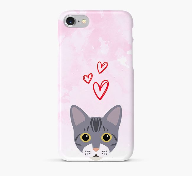 'Bengal Icon & Hearts' - Personalised Bengal Phone Case
