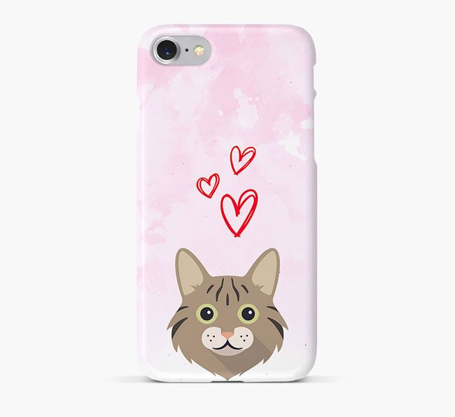 'Cat Icon & Hearts' - Personalized Cat Phone Case