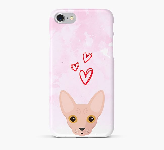 'Cat Icon & Hearts' - Personalised Cat Phone Case