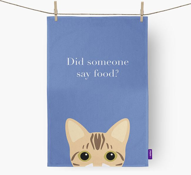 'Did Someone Say Food?' - Personalized Bengal Dish Towel