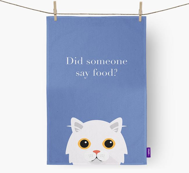 'Did Someone Say Food?' - Personalized Cat Dish Towel