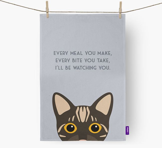 'I'll Be Watching You' - Personalized Bengal Dish Towel