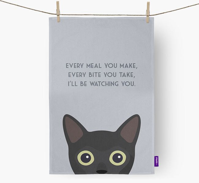 'I'll Be Watching You' - Personalized Cat Dish Towel