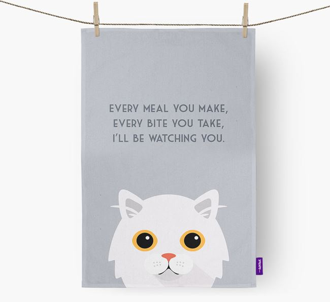 'I'll Be Watching You' - Personalised Cat Tea Towel