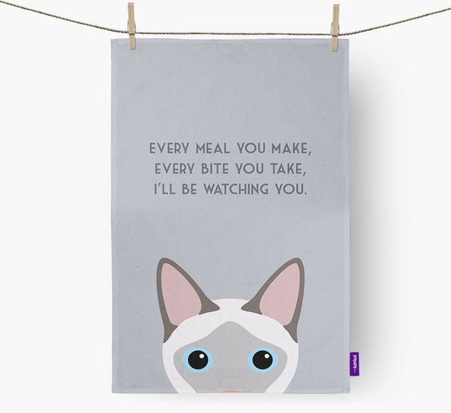 'I'll Be Watching You' - Personalised Siamese Tea Towel