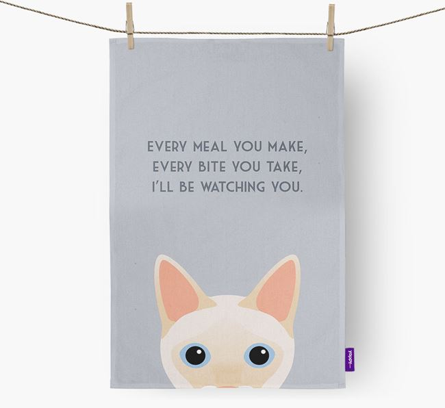 'I'll Be Watching You' - Personalized Siamese Dish Towel