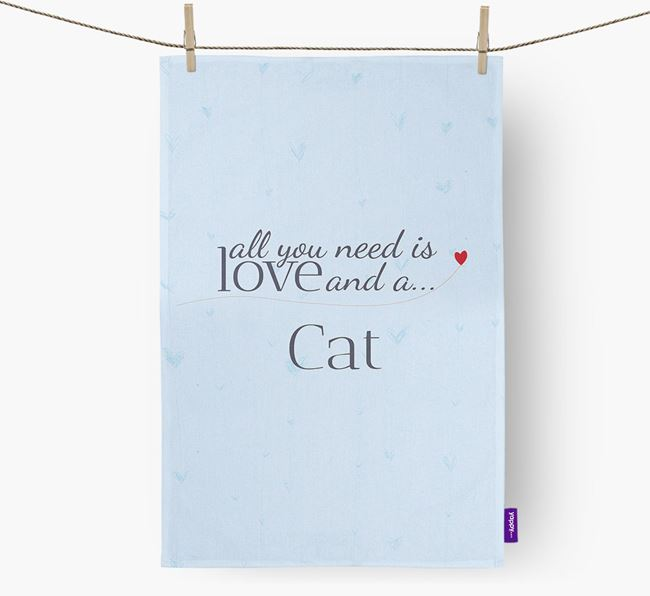 'All You Need Is Love...' - Personalized Cat Dish Towel