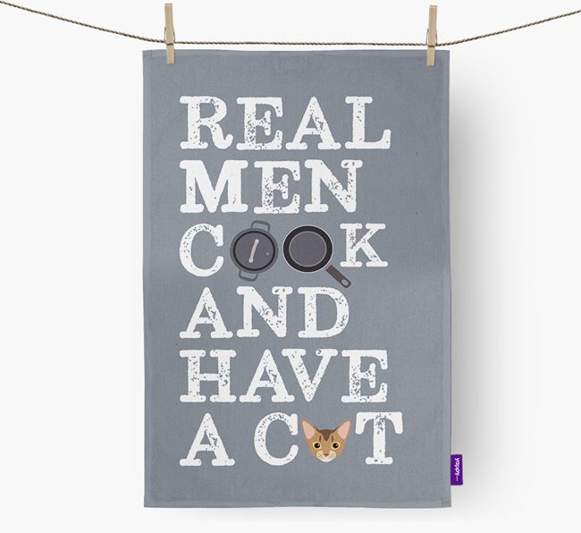'Real Men Cook and Have a Cat' - Personalized Cat Dish Towel
