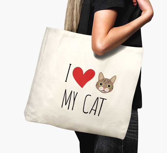 'I Love My Cat' - Personalised Canvas Bag