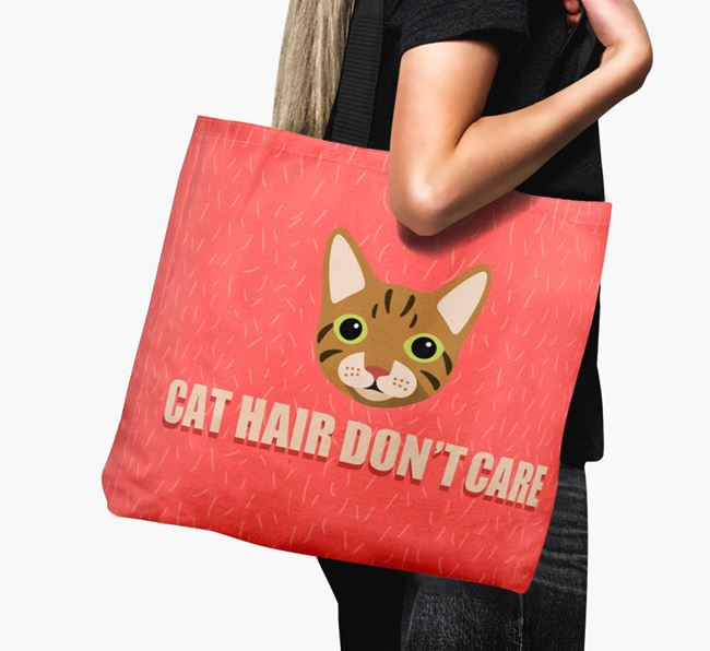 'Cat Hair Don't Care' - Personalised Cat Canvas Bag