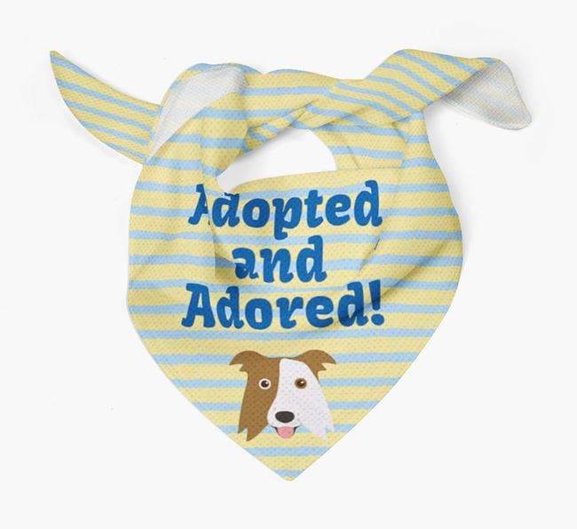 'Adopted and Adored' - Personalised Border Collie Bandana