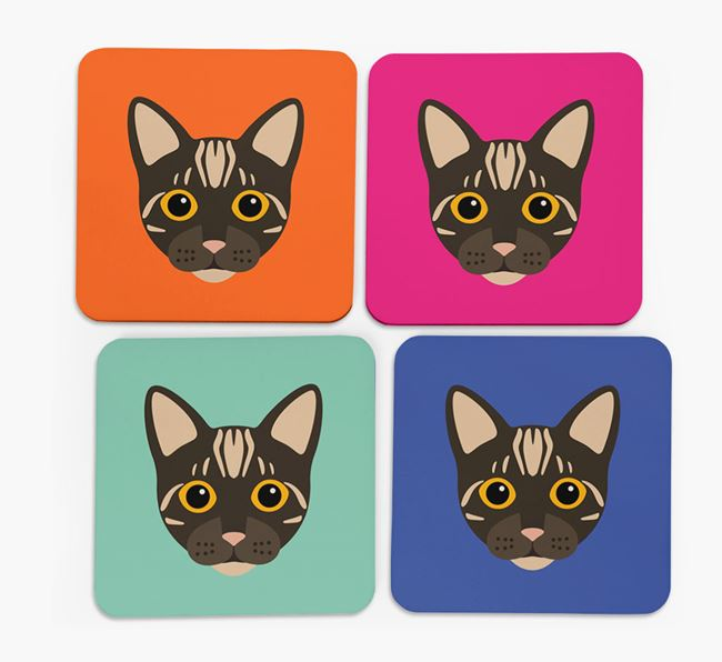 'Bengal Icon' - Personalized Coasters (Set of 4)