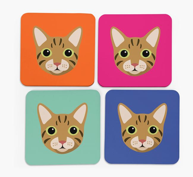 'Cat Icon' - Personalised Cat Coasters (Set of 4)