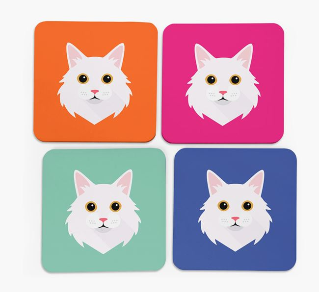 'Cat Icon' - Personalized Coasters (Set of 4)
