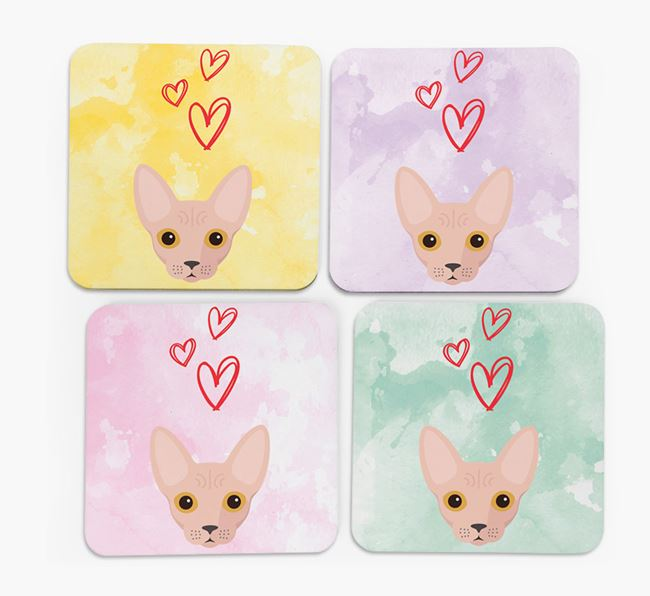 'Heart Design' - Personalized Cat Coasters (Set of 4)