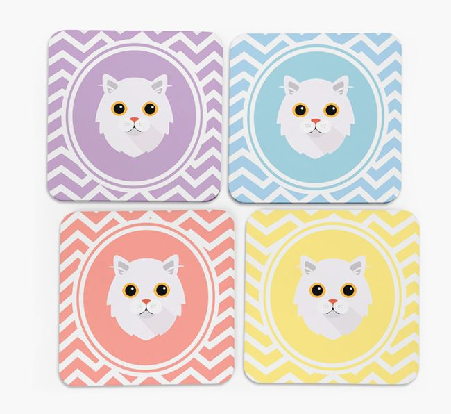 'Zig Zag' - Personalized Cat Coasters (Set of 4)