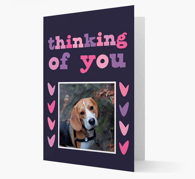 'Thinking of You' - Personalised Beagle Photo Upload Card