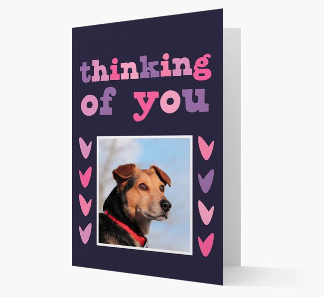 'Thinking of You' - Personalised Blue Lacy Photo Upload Card