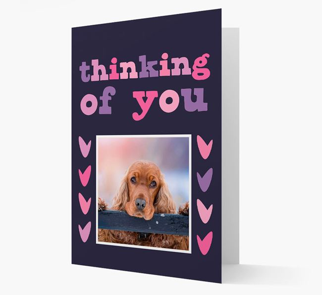 'Thinking of You' - Personalised Cocker Spaniel Photo Upload Card