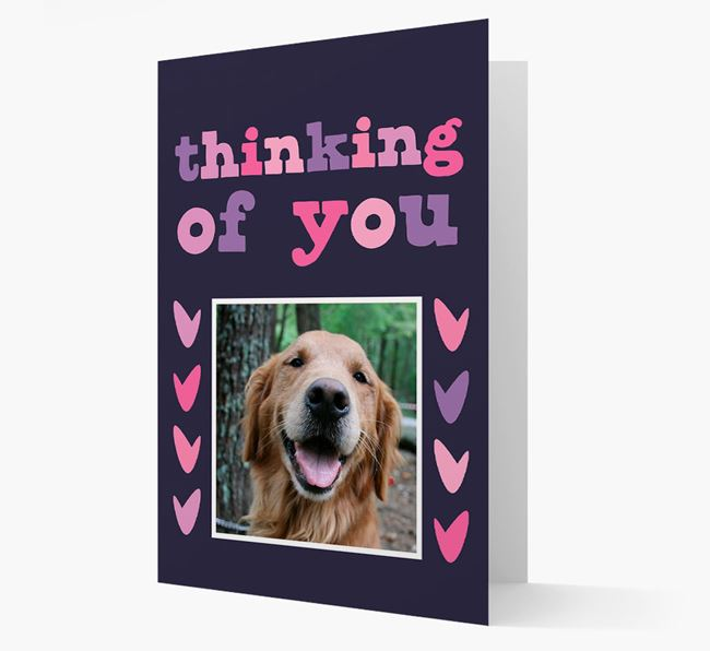 'Thinking of You' - Personalised Golden Retriever Photo Upload Card
