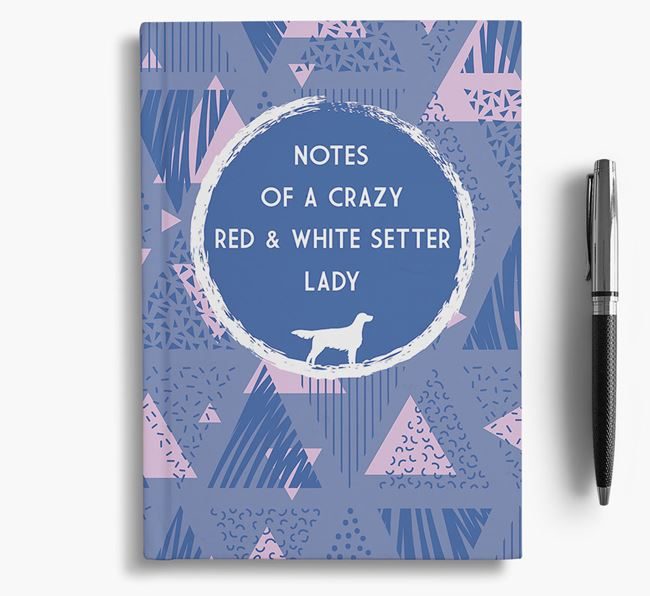 'Crazy Red & White Setter Lady' Notebook