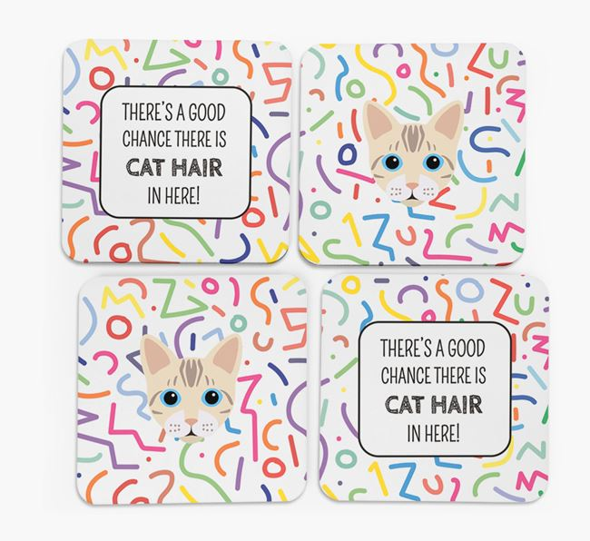 'Chance of Cat Hair' - Personalised Bengal Coasters (Set of 4)