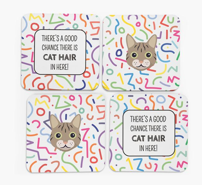 'Chance of Cat Hair' - Personalised Cat Coasters (Set of 4)