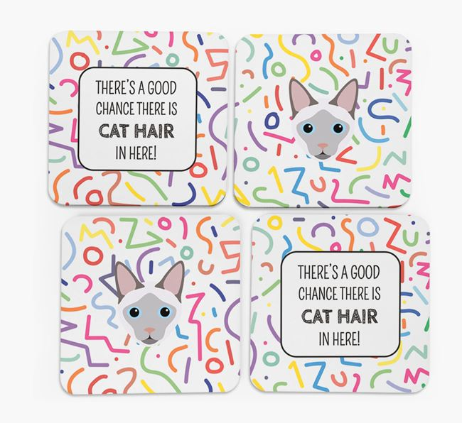 'Chance of Cat Hair' - Personalised Siamese Coasters (Set of 4)