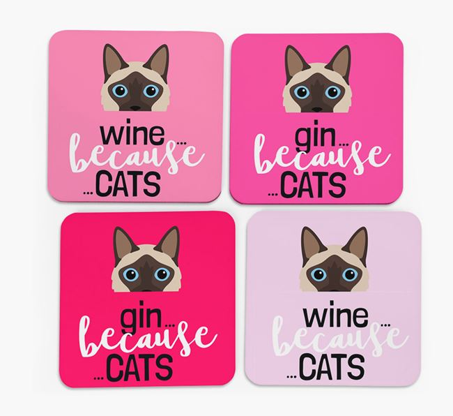 'Wine/Gin Because...Cats' - Personalized Balinese Coasters (Set of 4)